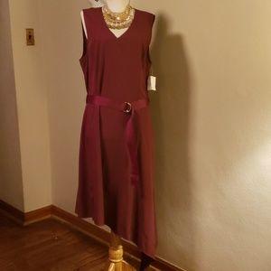 Niia ruby red asymmetrical dress. Sz XL